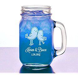 Love Birds Valentines Gift Idea Engraved Mason Jar Mug Personalized Drinking Glass Etched with Name and Wedding Engagement Anniversary Date © Custom Engraved Glasses By Stockingfactory