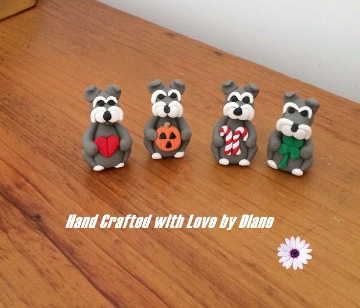 4 Hand Crafted Polymer Clay Mini 4 Season or Holiday  Schnauzer Figurines