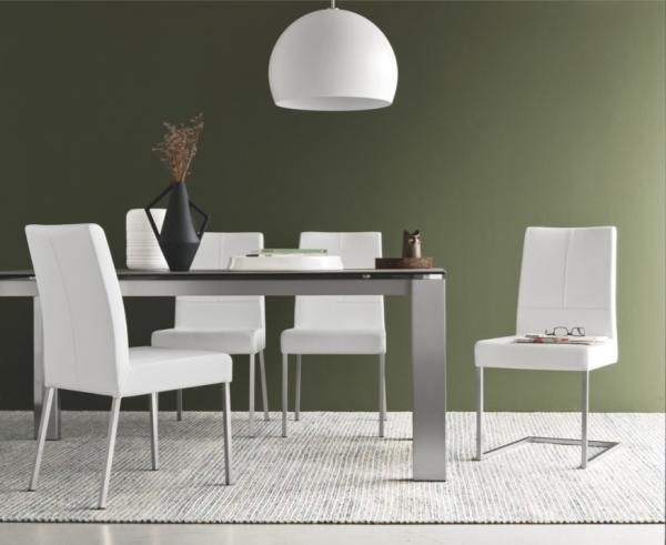 gate modern extending dining table   cement ceramic top  brushed metal legs