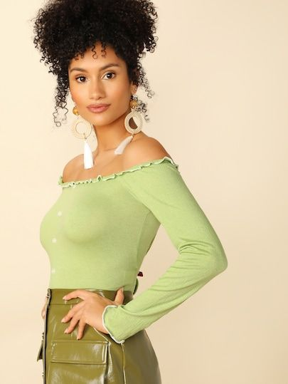 4d2323c0a4ceb Lettuce Trim Button Front Ribbed Bardot Top  swtee07181214832  -  16.00    moonbaye.com