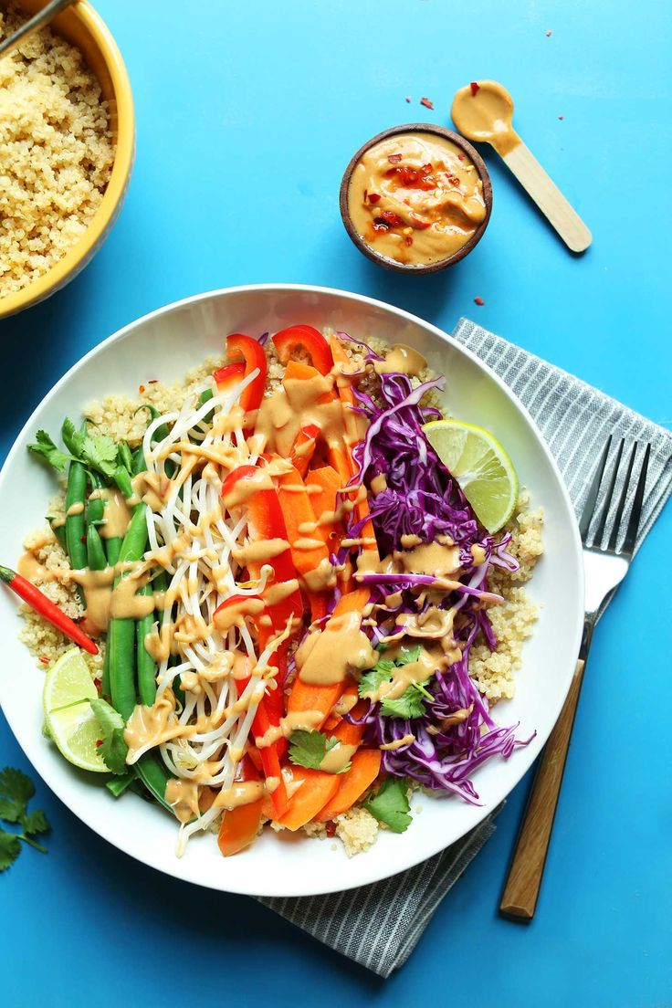 A modern take on the classic Indonesian dish Gado-Gado. Quinoa replaces rice for added protein, which is topped with veggies and a spicy peanut sauce!