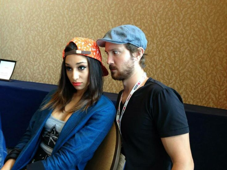 An unfazed Meaghan Rath refuses to react to Sam Huntington's goofiness. Love them.