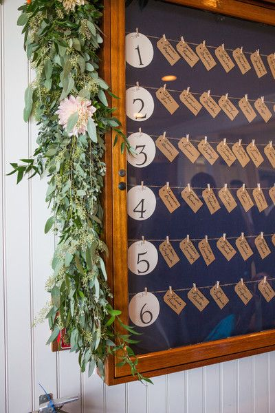 Elegant escort card idea - tags with guests' names hung in a wooden frame decorated with eucalyptus leaves {Ashley Tilton Photography}