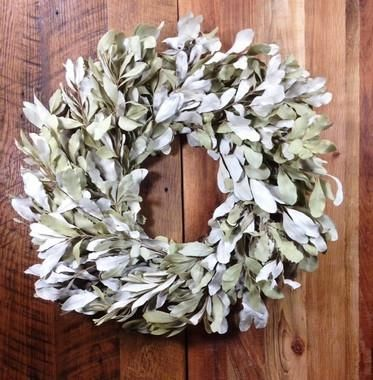 """This wreath is made of all natural dried mountain sage. small: 10"""" diameter large: 24"""" diameter"""