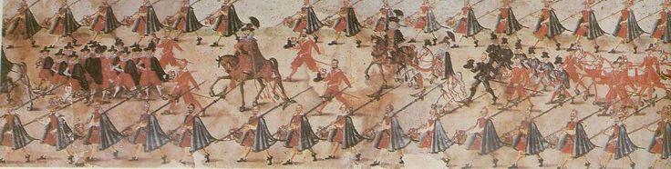 Rulon polski, ok. 1605r./ fragment: król Zygmunt III na koniu/ źródło: http://www.kismeta.com/diGrasse/Rolka/rolkacarrigeset1.jpg