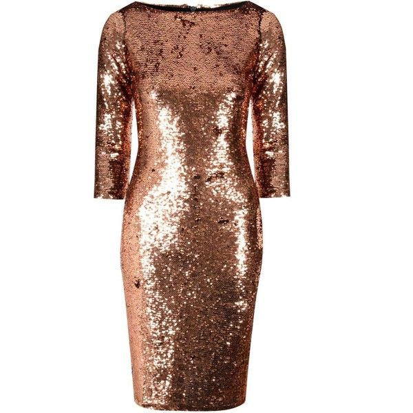 **Alice & You Copper Sequin Bodycon Dress ($35) ❤ liked on Polyvore featuring dresses, metallic, brown dress, sleeved dresses, copper dress, zipper back dress and bodycon cocktail dress
