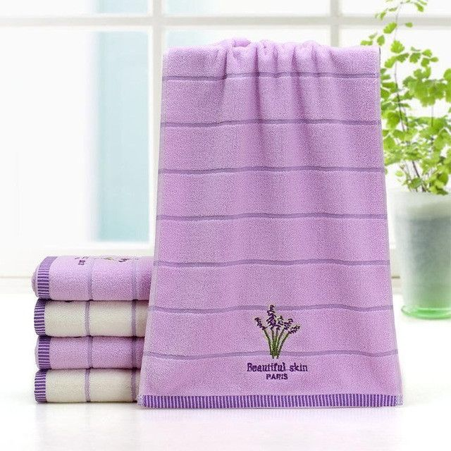 2pcs/set 34*75cm Elegant Lavender Cotton Terry Towels for Adults Face Bathroom Hand Towels