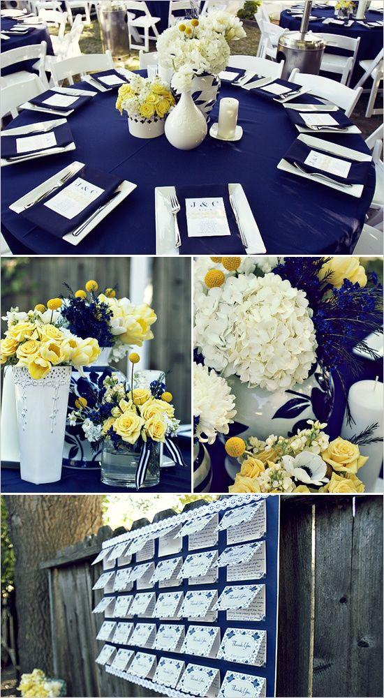 navy and yellow wedding ideas... I like the color yellow.  I also like the white with yellow flowers