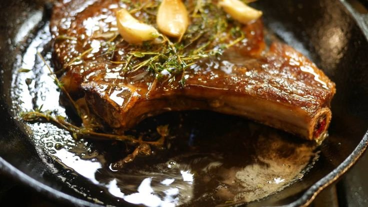 Aged Bone in Ribeye Cooked Medium in a Cast Iron Pan 4k
