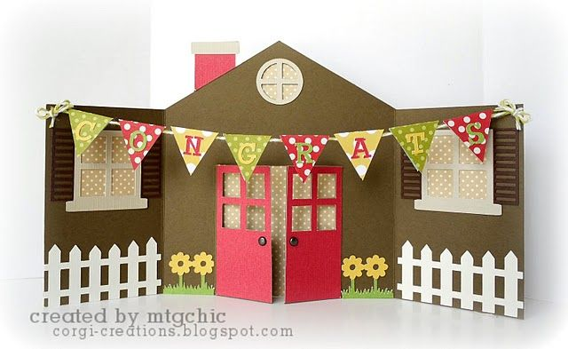 house card by Meg (it starts off small & opens to reveal all this!) This is NEAT!~: Cards Ideas, New House, Pop Up Cards, New Home Cards, Corgi Creations, Housewarming Card, House Cards, Free Silhouette File, Crafts