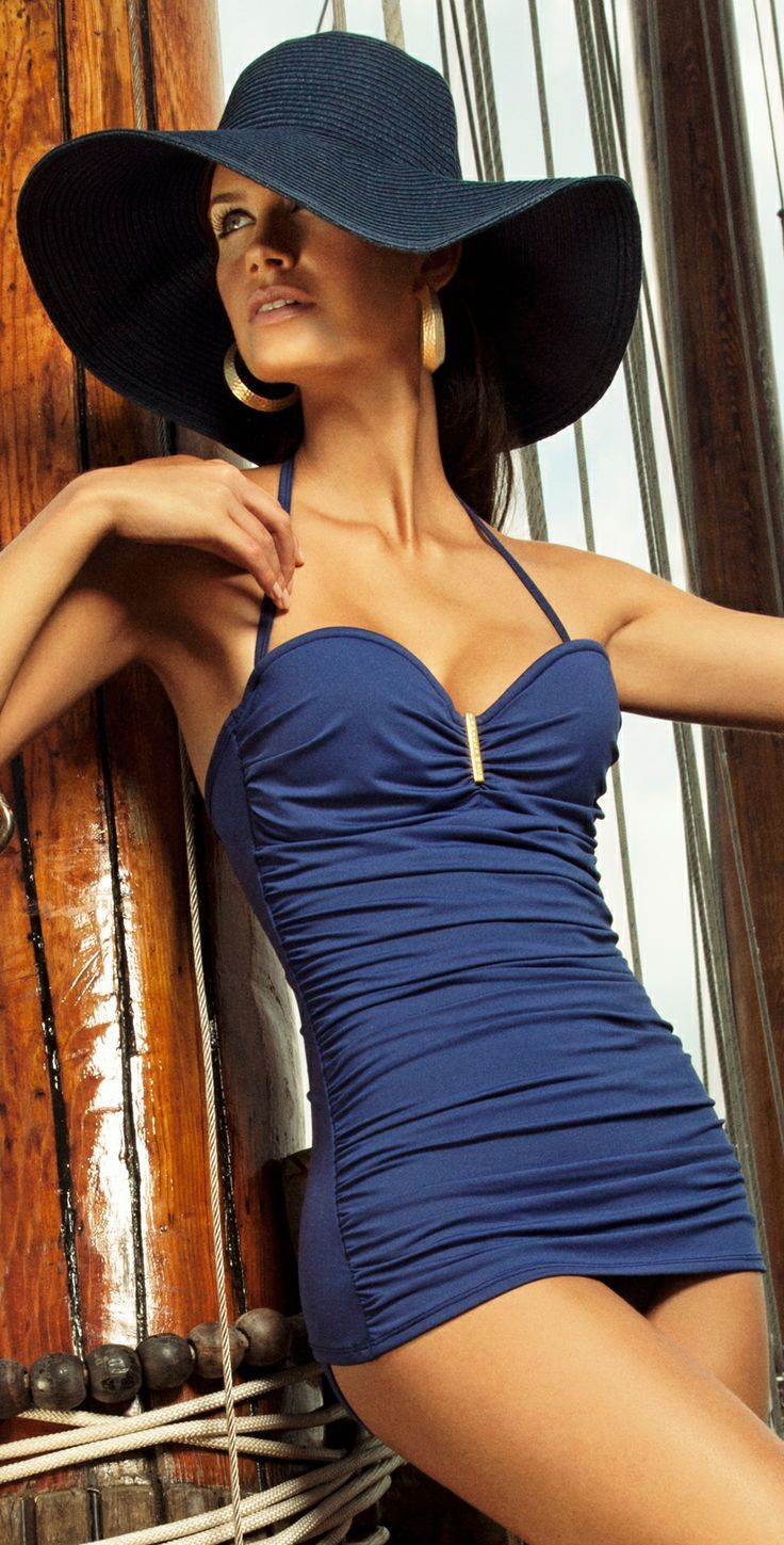 25 Hot Designer Bikinis and Swimsuits for 2014 - Style Estate - The Verano High 2013 Nantucket cobalt blue swimdress
