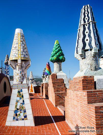 Roof terrace on Palau Güell with sculpted chimneys, Barcelona