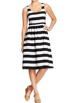 Women's Striped Fit & Flare Dresses   Old Navy