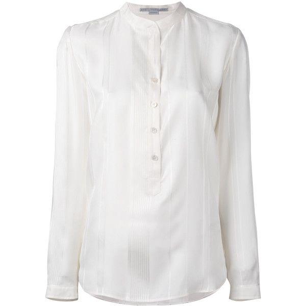 Stella McCartney half-placket blouse (224.605 HUF) via Polyvore featuring tops, blouses, stella mccartney, long sleeve silk top, striped blouse, cream long sleeve top and cream long sleeve blouse