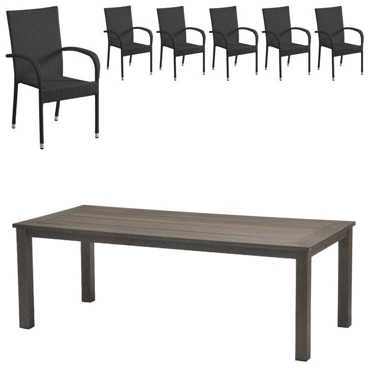 Gartenmöbel Set Alexis/Palermo (101x220, 6 Stühle, Schwarz) Jetzt Bestellen