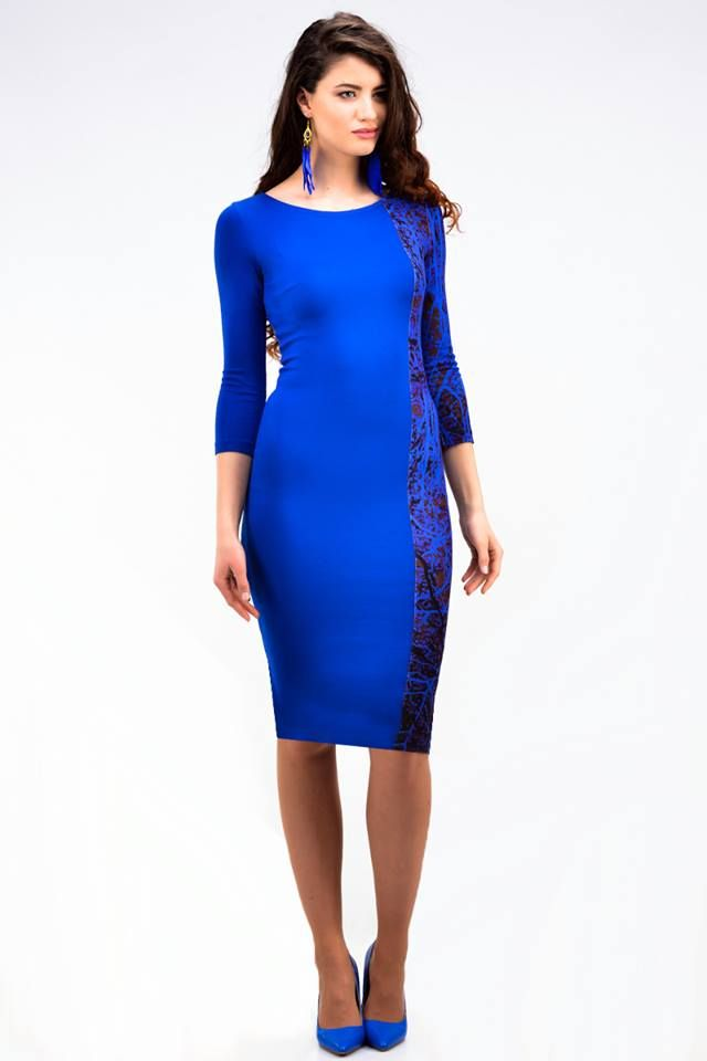 Blue tree dress with asymmetric division - 66,50€
