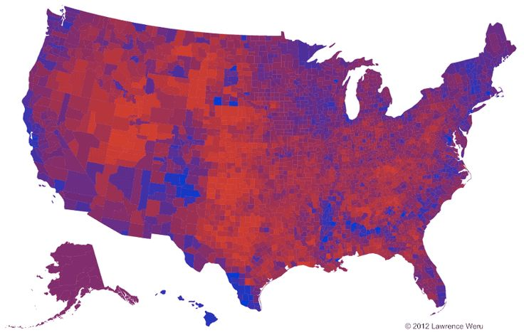 The Trouble with the Purple Election Map. Colour manipulation for clarity.