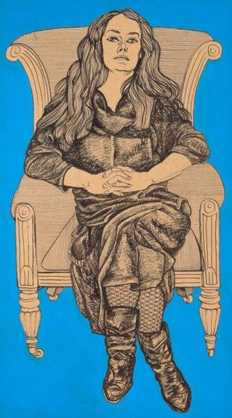Alasdair Gray: May in Black Dress on Armchair, 2010