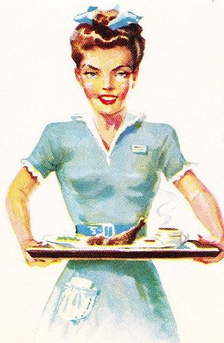 Knott's Chicken Dinner Waitress Illustration from vintage Knott's menu, circa 1952.