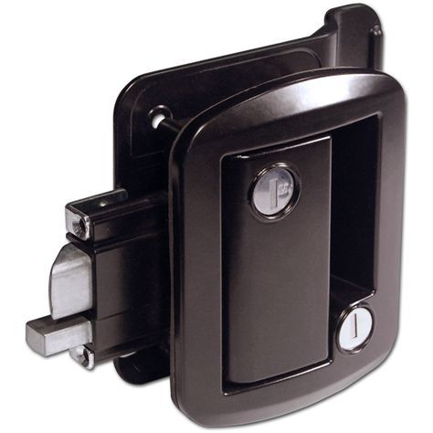 Part #: OTP-FIC-43610-2006-BK Description: 1 (One) Camper Door Handle with Deadbolt - Black. Each Lock Comes With: 2 Global Link Keys, 1 Strike Plate, 1 Door Edge Cover. This lock is a direct replacem