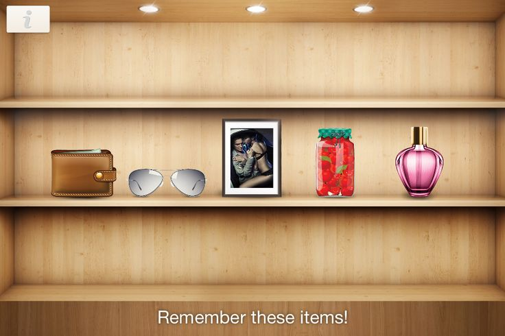 Minigame Remember items - Remember all things in the shelf, because one of them will be changed.