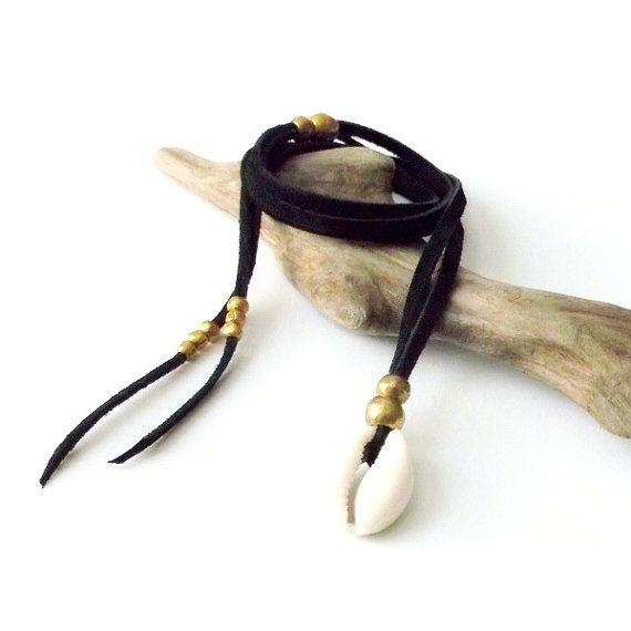 Cuentas de concha Shell collar africano latón cuero collar gamuza collar - negro - joyas Boho Bohemia joyería joyería Tribal gitano