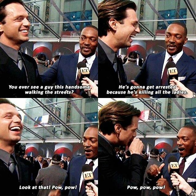 I love Anthony all the same as the rest of the Marvel main cast. But sometimes I feel he can burst in on other people's interviews/space, Sebastian's especially. In most interviews I've noticed he doesn't really let other people speak & Sebastian often gets cut off. But I love him all the same.