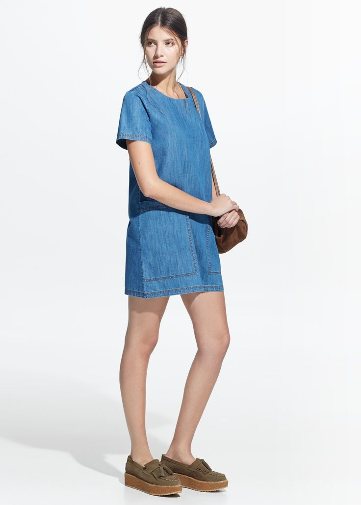 Robe denim poches met dresses and pockets for Robe jean mango