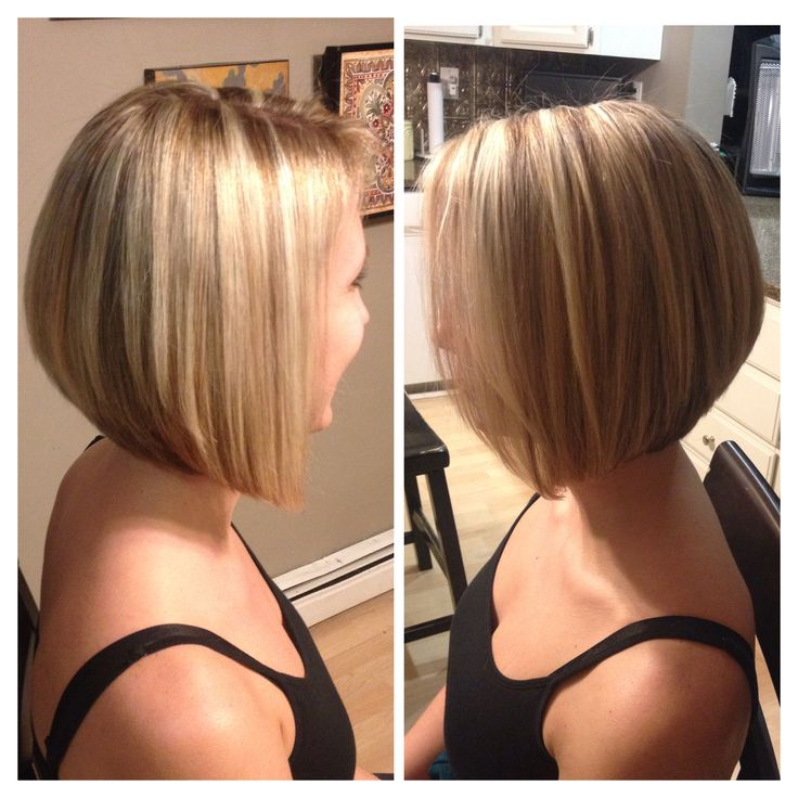 Angled bob, short hair, blonde highlights and lowlights  My favorite haircut ever!