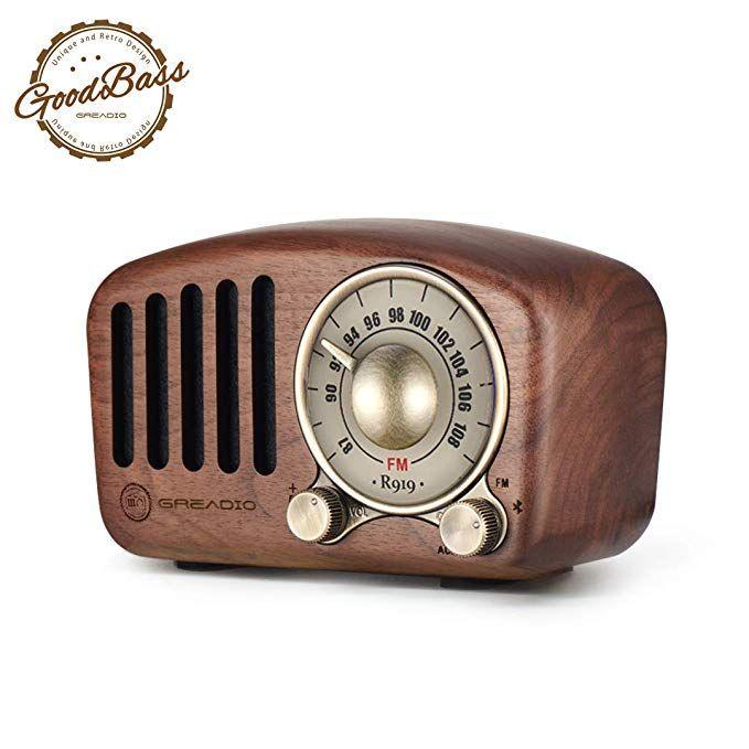 Amazon Com Vintage Radio Retro Bluetooth Speaker Greadio Walnut Wooden Fm Radio With Old Fashioned Classic Style Strong Bas Vintage Radio Retro Radios Radio