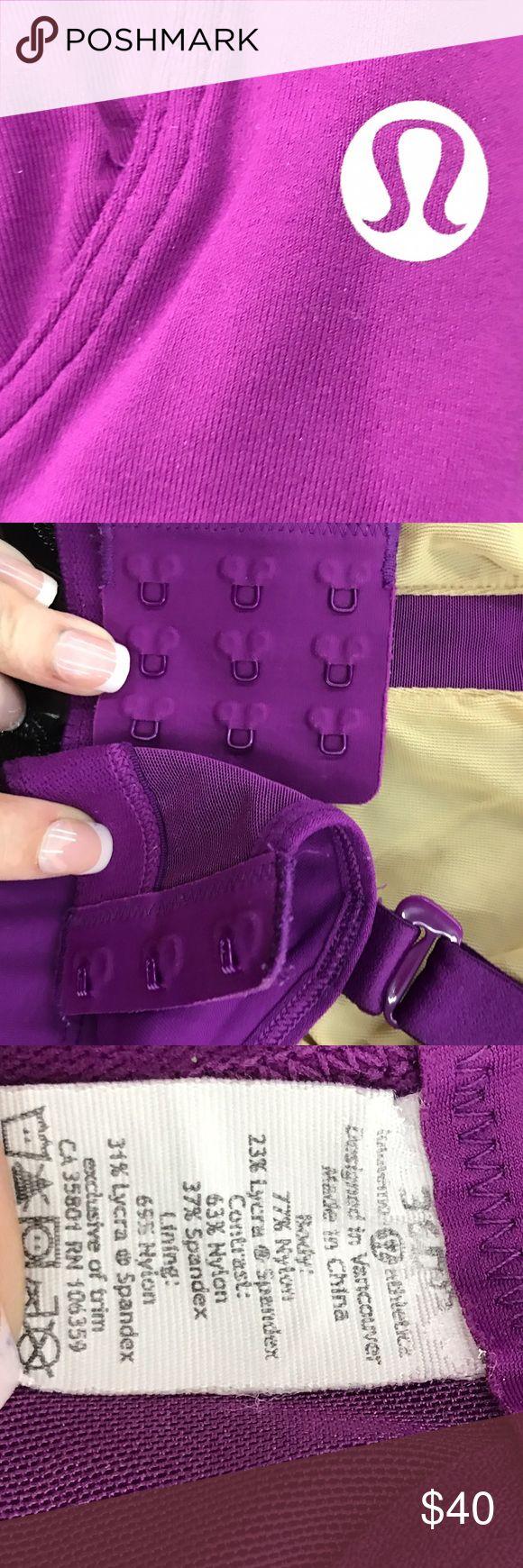 Lululemon Sports Bra like new Size 36 DD, purple athletic bra. No wear it stretch in it. Bra was always washed by hand so it's got a lot of life in it! Only wear is on the tag I added it on the photos. lululemon athletica Intimates & Sleepwear Bras