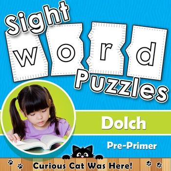 Sight word puzzles - Download and print!  Dolch Pre-Primer words. #sightwords