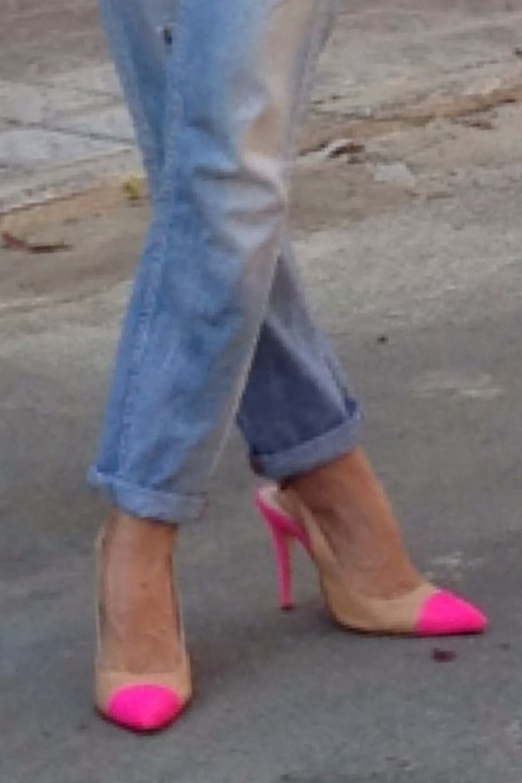 pink and camel shoes