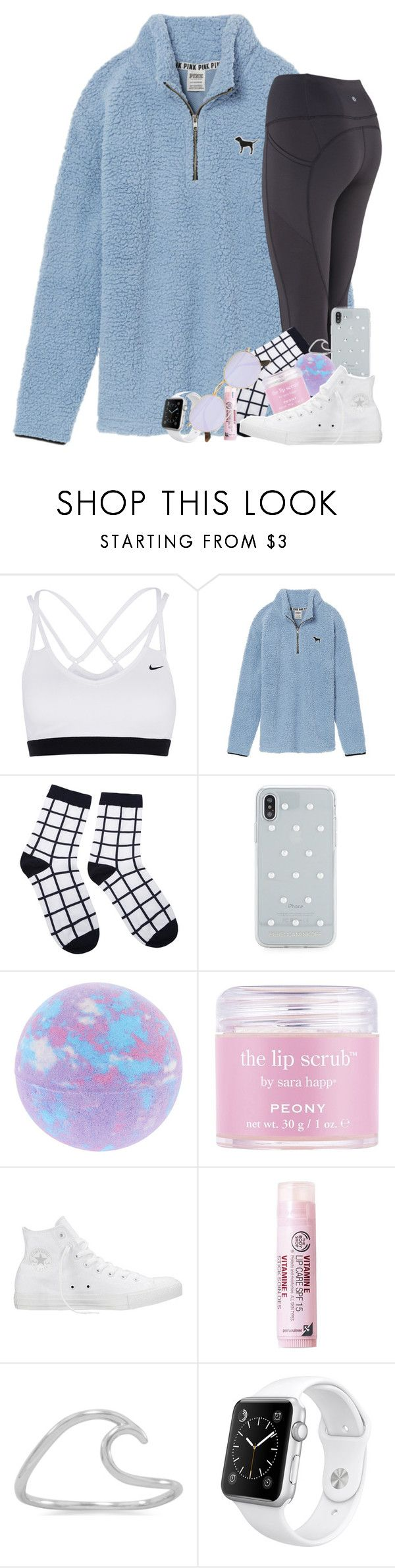 """"" by southernstruttin ❤ liked on Polyvore featuring NIKE, Victoria's Secret, Rebecca Minkoff, Sara Happ, Converse, The Body Shop, BillyTheTree, Apple and Ray-Ban"