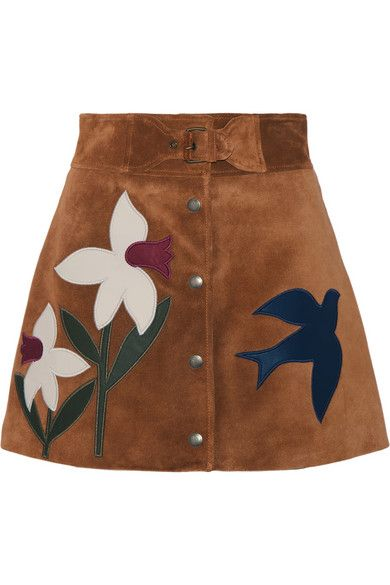 RED VALENTINO Leather-Trimmed Suede Mini Skirt. #redvalentino #cloth #skirts