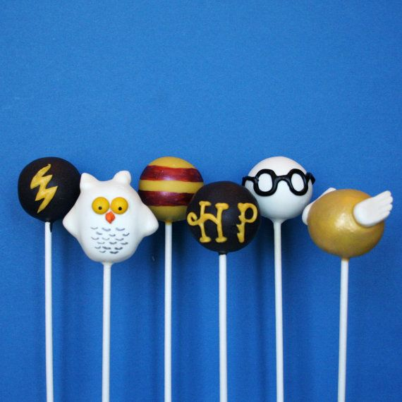 6 Harry Potter Cake Pops with Golden Snitch and Hedwig the Owl, for party favors, movie night, or gift for a J.K. Rowling fan
