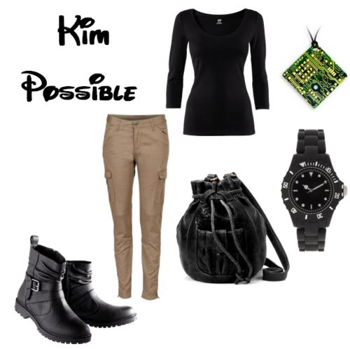 Kim Possible.  Sites and Prices forKim Possible.  This came out more costume-y then I had hoped. But, whatever. (Bonus points if your cell phone has the Kim Possible ringtone while wearing this outfit.)
