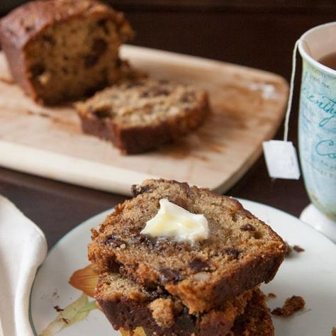Super-Moist Quick and Easy Banana Nut Chocolate Chip Bread Recipe Breads with softened butter, granulated sugar, brown sugar, eggs, mayonnaise, vanilla, bananas, all-purpose flour, salt, baking powder, baking soda, semi-sweet chocolate morsels, chopped walnuts