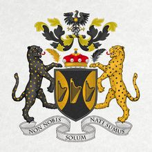 The arms of Baron Haden-Guest (since 1996, Christopher Guest, the film director). ARMS: Sable two flaunches or, three Welsh triple harps in fess counter-changed. CREST: A caladrius displayed sable, beaked, legged and charged on the breast with a sun in splendour or. SUPPORTERS: Dexter, a leopard sable semée of roundels and grasping in the interior paw a quill or; Sinister, a leopard or semée of roundels and grasping in the interior paw a quill sable.