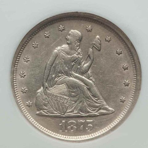 Description: A beautiful about uncirculated silver 1875 S twenty-cent piece. The date 1875 represents the first year for this type of coin and possibly the only
