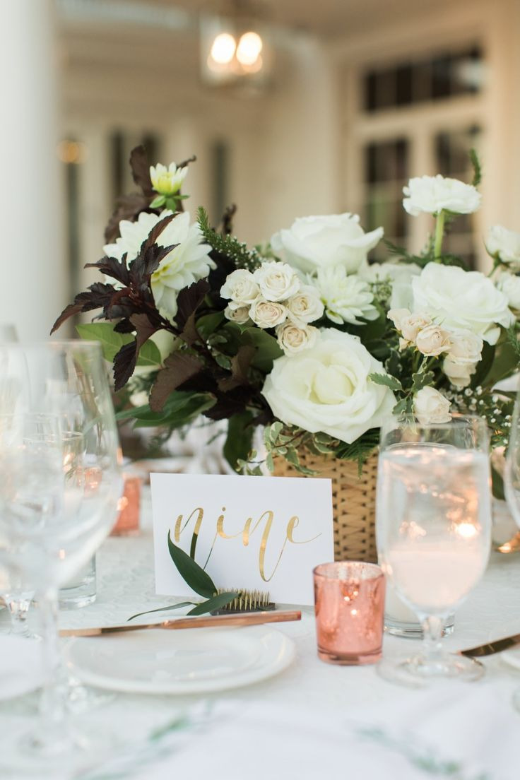 Contemporary centerpiece with white blooms and rose gold accents