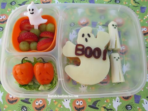 Halloween Ghost Bento. #lunchbox #Halloween BentoSchoolLunches.com