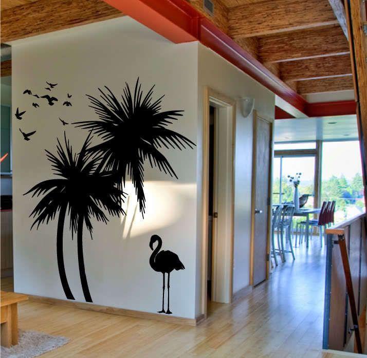 Grote palm bomen vogel adhesive vinly muurtattoo art mural muursticker interieur(China (Mainland))