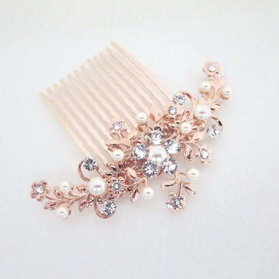 Peigne à cheveux or rose peigne à cheveux mariage par treasures570