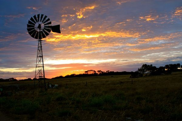 Sunset at Coodlie Park, a WWOOFing farm in Eyre Peninsula, South Australia