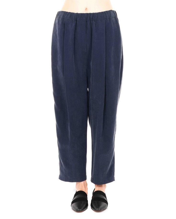 DAMIR DOMA WIDE LEG TROUSERS S/S 2016 Blue cupro trousers drawstring waist wide leg one back pocket 3/4 length 100% CU