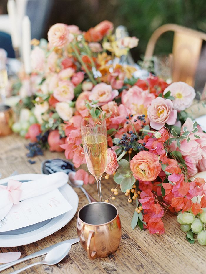 Colorful Summer Wedding Flowers with Copper Decor