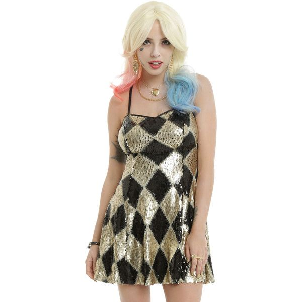 Hot Topic DC Comics Suicide Squad Harley Quinn Sequin Dress (€50) ❤ liked on Polyvore featuring dresses