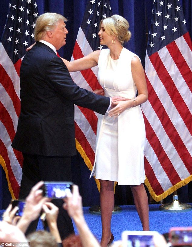 Ivanka embraces her father after introducing him this past June when he announced he was r...