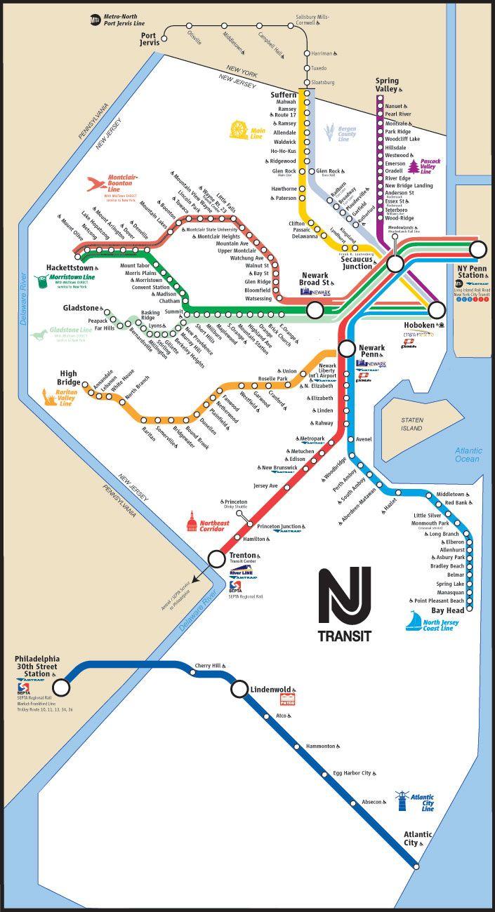 City York New Transit Map Jersey New